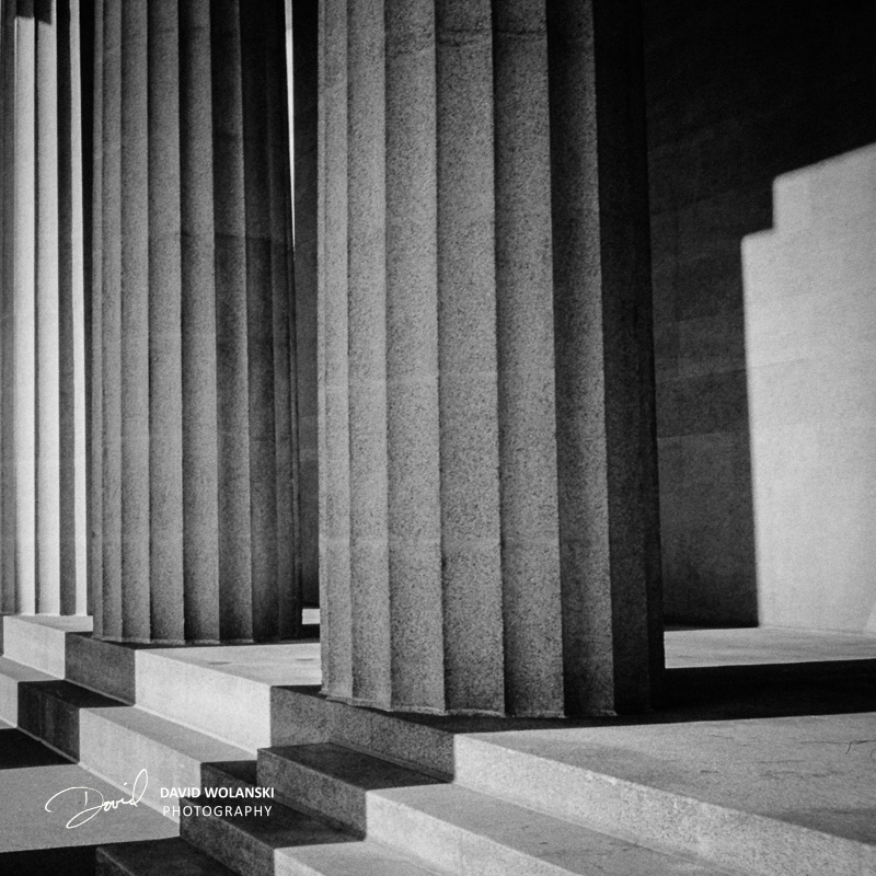 Columns, shot on 35mm color and converted to B&W, and cropped square