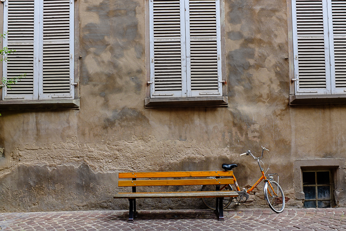 I never saw so many bicycles in my life as I did in Germany. I liked the bench and windows, the bike was a bonus.