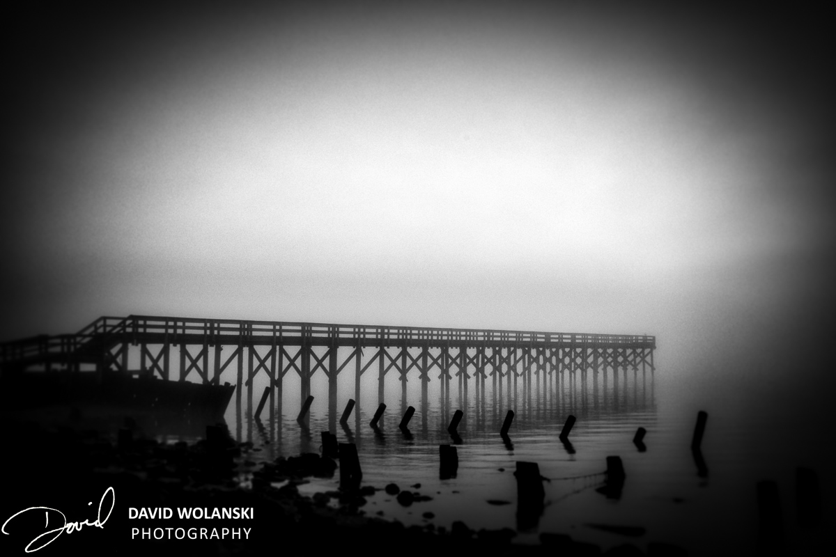 Port Mahon Pier in fog