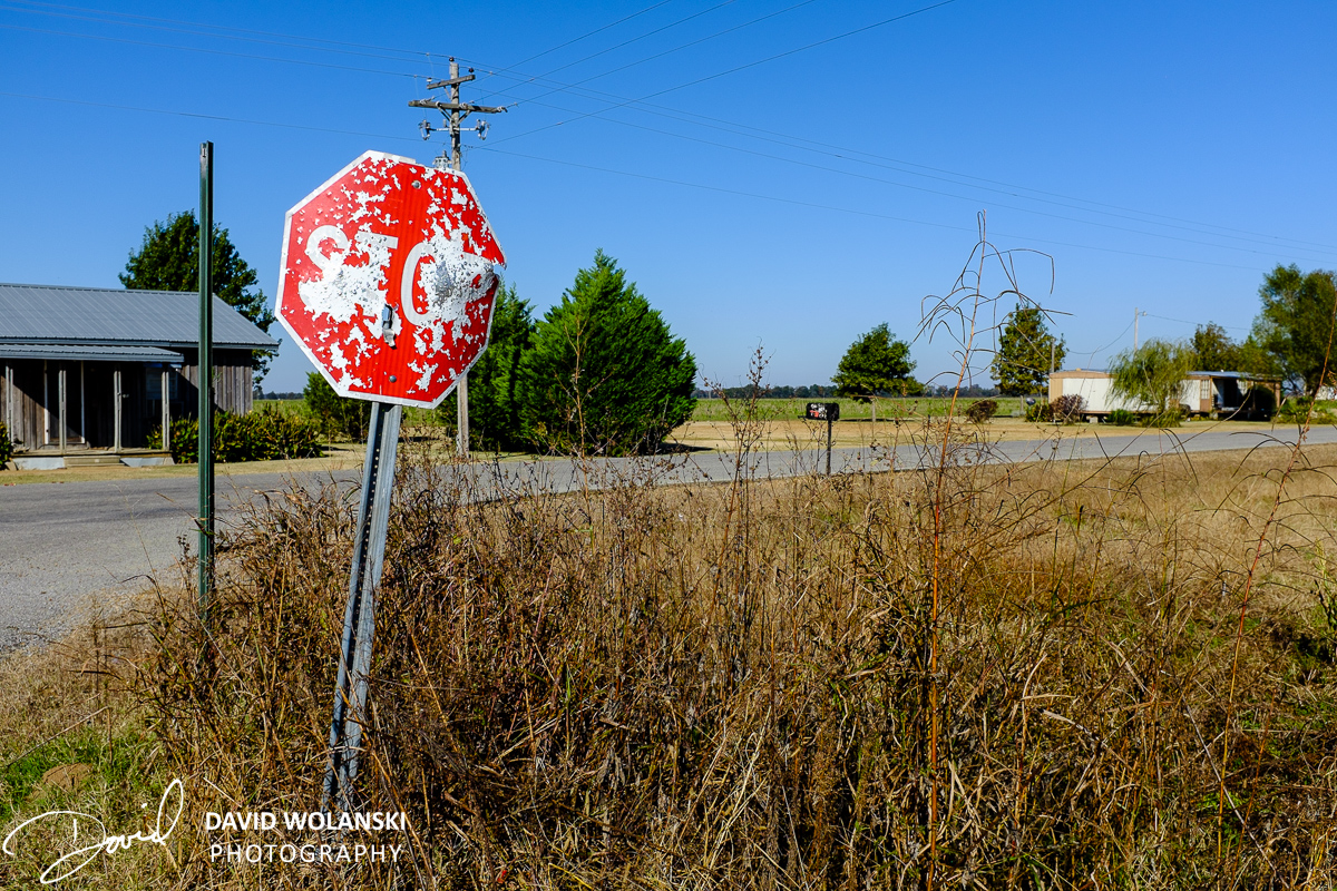 Stop sign peppered with shotgun pellets