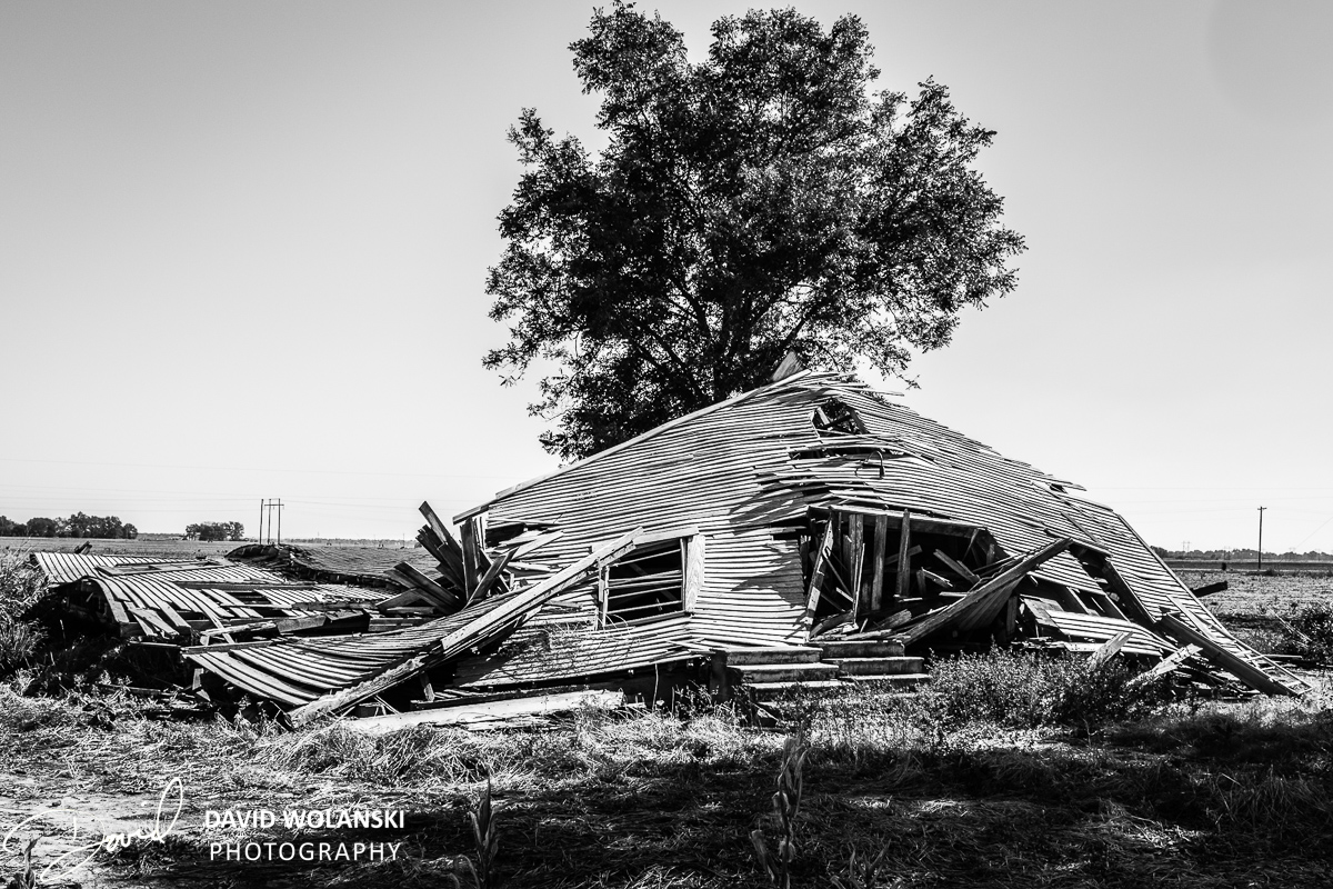 Remains of an old church after it fell down in Mississippi