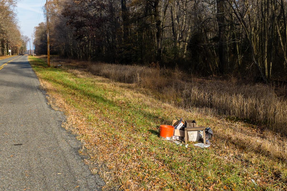 trash on side of road