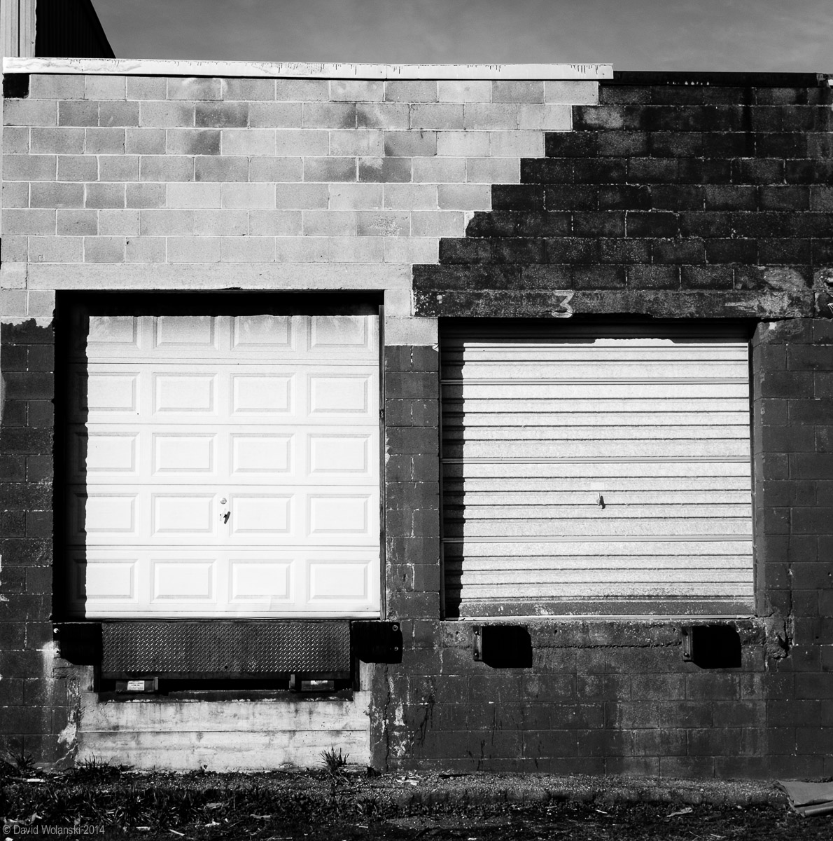Garage doors and cement block make interesting patterns