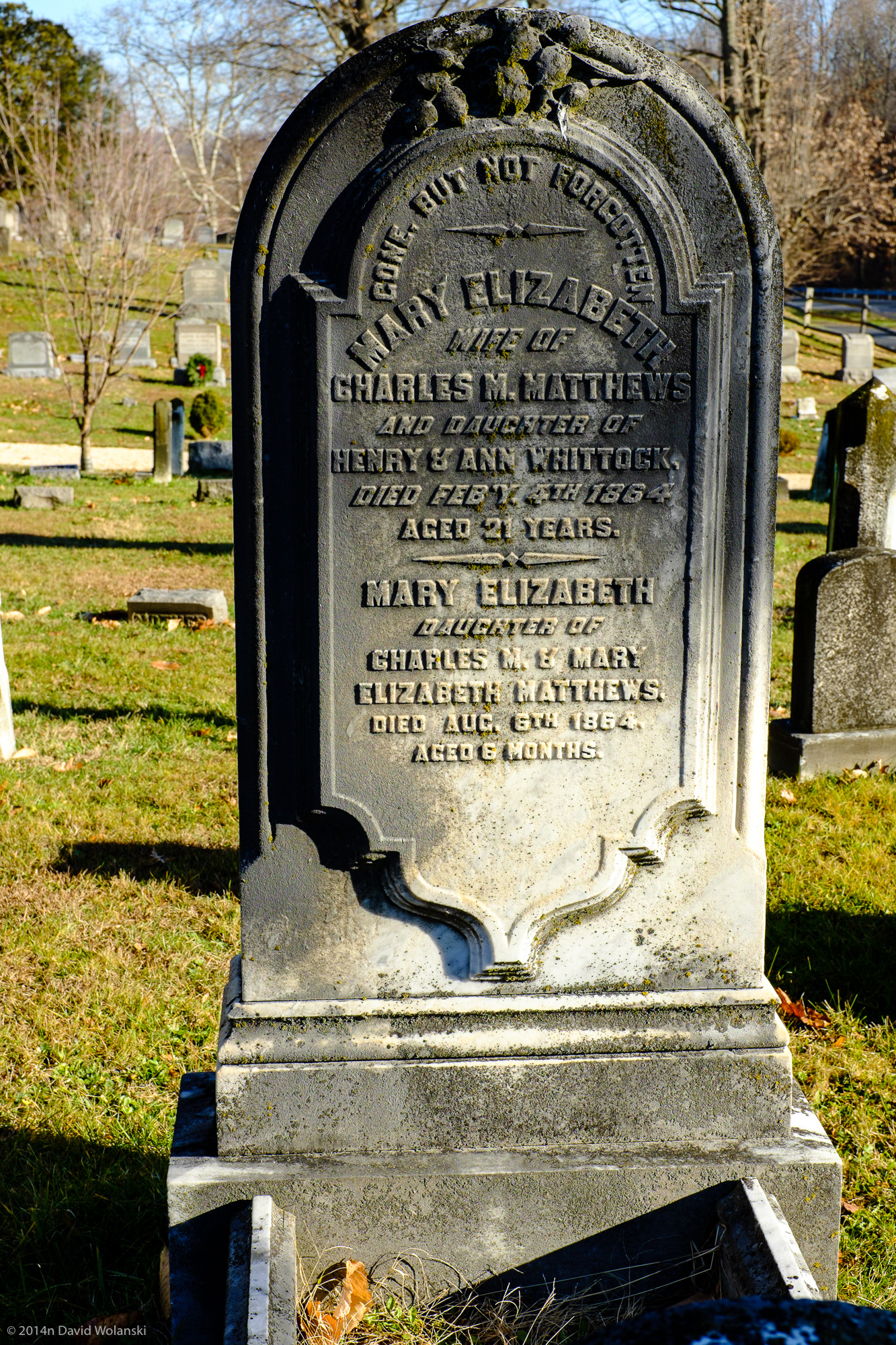 Charles Mathews wife died in child birth, his daughter who had his wife's name, died 6 months later.