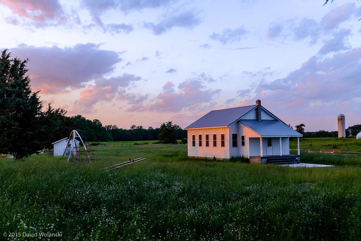 Amish School house at dusk