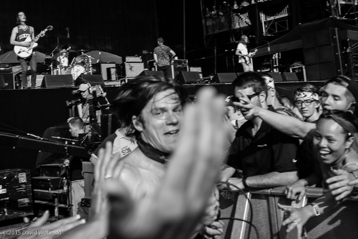Matt Shultz of Cage the Elephant at Firefly 2015 running into the crowd