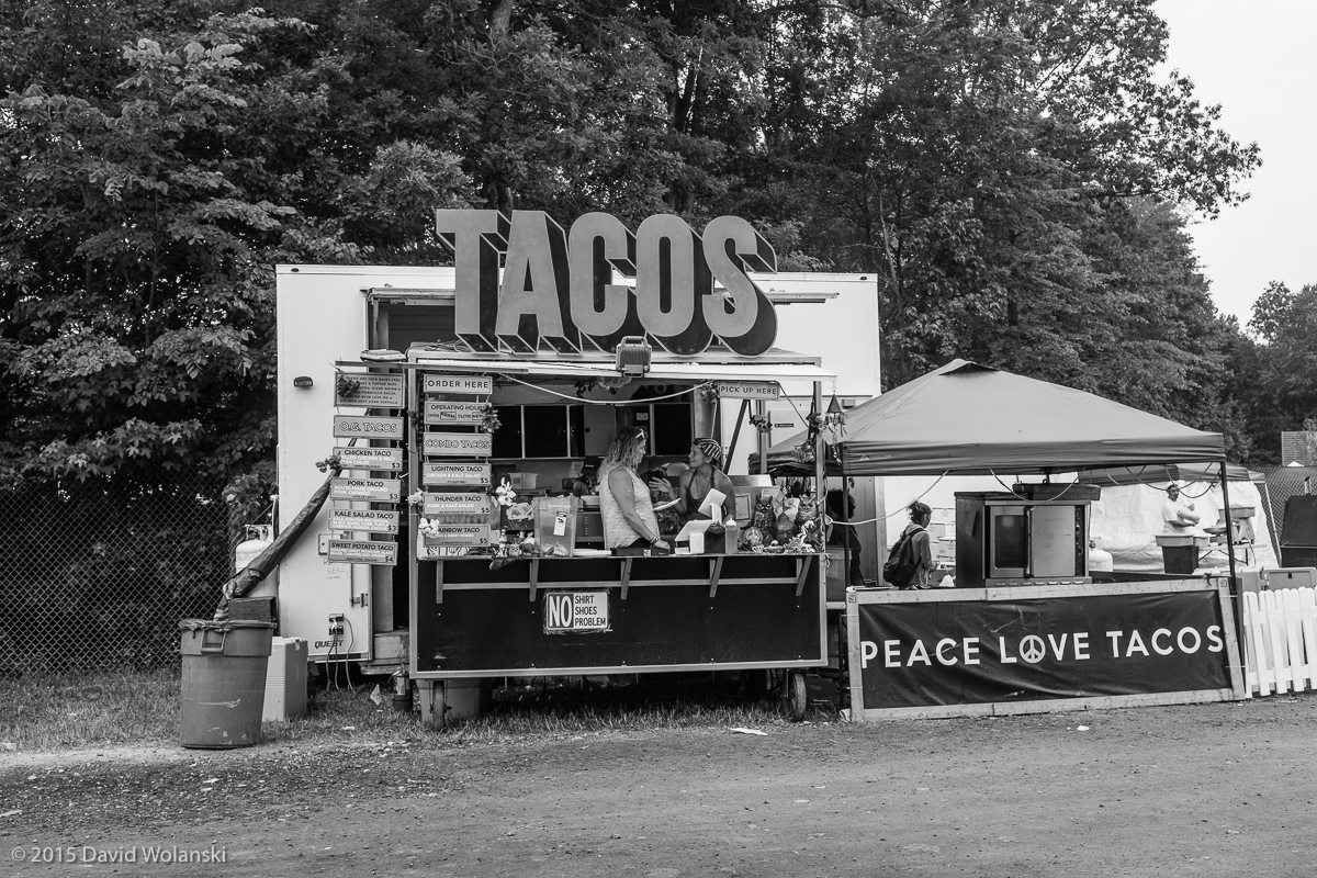 Choirs of angels from on high sang as I had tacos in the VIP area from Peace Love Tacos. No shirt, no shoes, no problem.