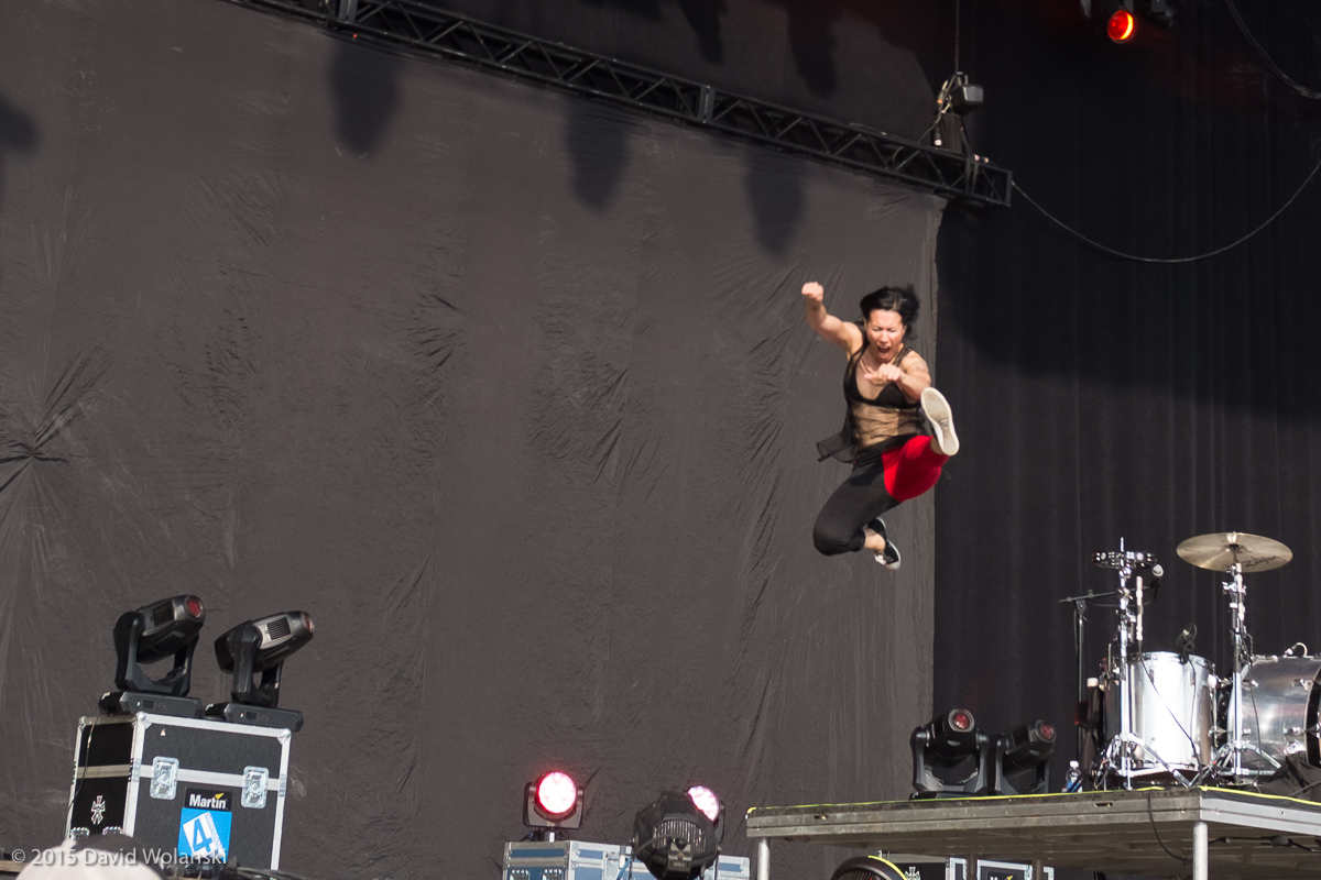 Kim of Matt and Kim at Firefly 2015