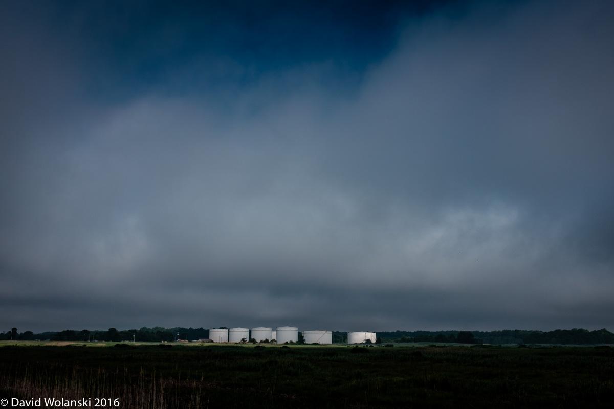 Light on Gas Tanks near Port Mahon, Delaware