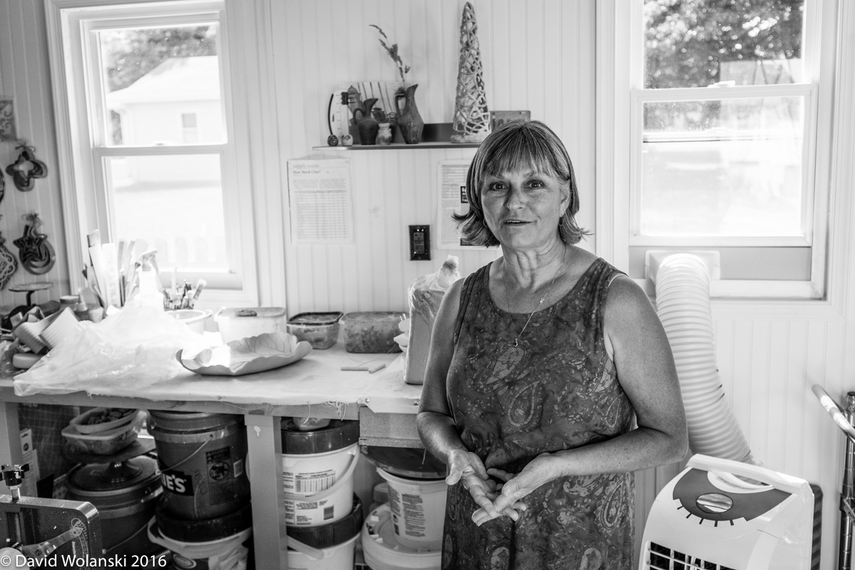 Maria Sadler in her pottery shed