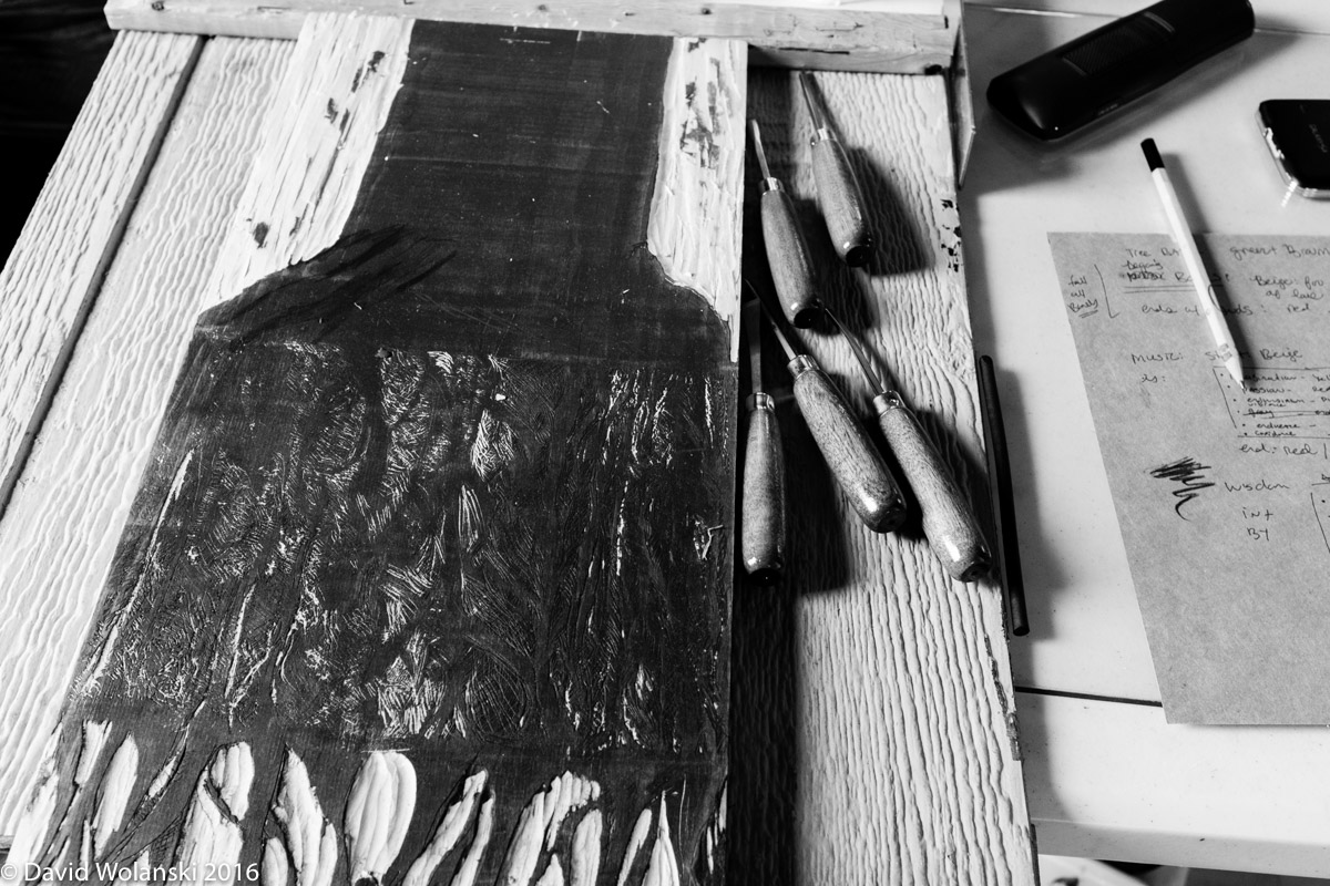 Laura is working on some architectural roots stuff. This is part of one section. The print is kind of reverse from the carved wood.