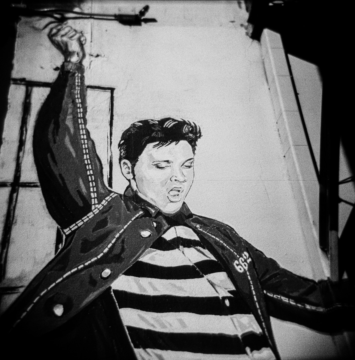 Elvis from Jailhouse Rock on the wall in Tupleo Mississippi